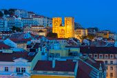 View Of Lisbon Cathedral At Twilight. Portugal poster