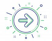 Next Arrow Line Icon. Forward Arrowhead Symbol. Navigation Pointer Sign. Quality Design Elements. Te poster