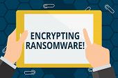 Conceptual Hand Writing Showing Encrypting Ransomware. Business Photo Showcasing Malware That Limits poster