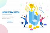 Isometric Business Team Success, Leadership, Awards, Career, Successful Projects, Goal, Winning Plan poster