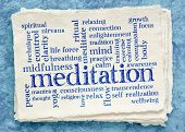 meditation word cloud on textured paper (handmade Khadi rag paper) poster