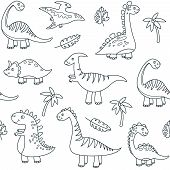 Dinosaur Outline Seamless Pattern. Cute Baby Dino Funny Brontosaurus Monsters Jurassic Animals Drago poster