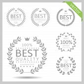 Laurel Wreath Label Badge Set Isolated. Best Quality, Best Offer, Best Buy. Vector Illustration poster