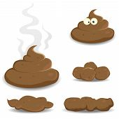 stock photo of nasty  - Illustration of various cartoon dung pooh and other dog dejections - JPG