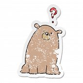 distressed sticker of a cartoon curious bear poster