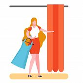 Buyer In Fitting Room Flat Vector Illustration. Woman Choosing Dress Size. Teenager Buying Prom Gown poster