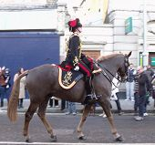 LONDON- FEB 7: Crowds of people welcome the kings troop royal horse artillery to the town of woolwic