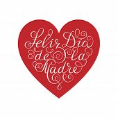 Happy Mothers Day. White Ink Calligraphy On White Background. Red Heart Shape. Used For Greeting Ca poster