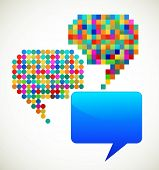 colorful, patterned speech bubbles
