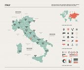Vector Map Of Italy. High Detailed Country Map With Division, Cities And Capital Rome. Political Map poster