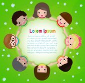 Kids Holding Hands In A Circle On The Meadow, Children Day Or Earth Day. Friendship Day. Template Fo poster