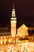 picture of gare  - Illuminated Luxembourg Railway station at night in Gare - JPG