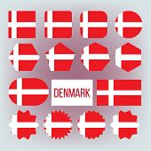 Danish National Colors, Insignia Icons Set. Danish State Flag, European Country Official Symbolics.  poster