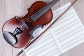 Classical Violin With Empty Music Sheet Book. Studio Shot Of Old Violin. Classical Musical Instrumen poster