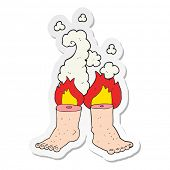 sticker of a cartoon of spontaneous human combustion poster