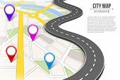 Creative Vector Illustration Of Map City. Street Road Infographic Navigation With Gps Pin Markers An poster