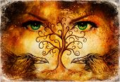 Pair Of Ravens With Tree Of Life Symbol And Green Female Goddess Eyes On Horizon. poster
