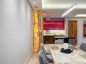 Modern comfortable apartment interior design poster