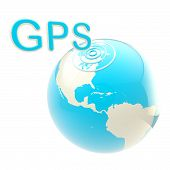 GPS emblem as the earth globe