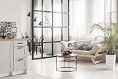 Open Space Kitchen And Living Room Interior With Mullions Wall And Scandinvian Design poster