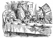 Mad Tea Party. Engraving by John Tenniel (United Kingdom, 1872). Illustration from book