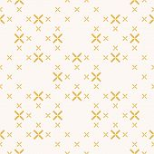 Vector Geometric Seamless Pattern With Small Flowers, Crosses. Elegant Minimalist Texture In Yellow  poster