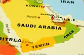stock photo of saudi arabia  - Close up of Saudi Arabia on map - JPG