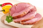 image of smoked ham  - sliced smoked meat - JPG