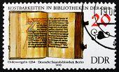 Постер, плакат: Почтовая марка ГДР 1990 правила порядка книга
