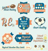 image of physical education  - Collection of retro style vectors for physical education class labels and icons - JPG