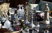 stock photo of flea  - old objects on a flea market in France - JPG
