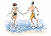 Couple are entering sea