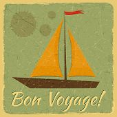 picture of bon voyage  - Old Fashioned Travel Card - JPG