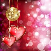 Two  Hearts And Gold Disco Bal