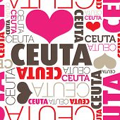 stock photo of ceuta  - I love Ceuta seamless typography background pattern in vector - JPG