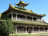 stock photo of bator  - The building of the temple in the territory of Mongolia - JPG