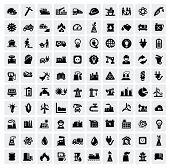 picture of windmills  - vector black industry icons set on gray - JPG