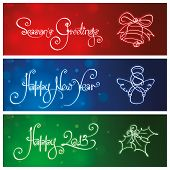 picture of winterberry  - Three Custom Handwriting script and line-art icon Christmas & New Year Banners. 