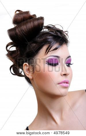 Closeup Face With Bright Violet
