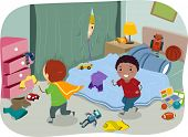 Illustration of a Couple of Boys Playing in a Typical Boy's Room