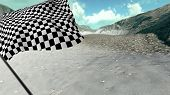 pic of sidecar  - Large Checkered Flag with fabric surface texture with landscape background - JPG