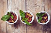 stock photo of basil leaves  - Vegan homemade food - JPG