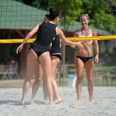 KAPOSVAR, HUNGARY - AUGUST 4: Virag Csitari (R) in action at a ROAK Viragfurdo Kupa beach volleyball