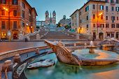 stock photo of stairway  - Spanish Steps at dusk - JPG