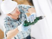stock photo of hand drill  - interior design and home renovation concept  - JPG