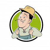 funny cartoon farmer in a badge