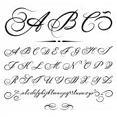 stock photo of cursive  - vector hand drawn calligraphic Alphabet based on calligraphy masters of the 18th century - JPG