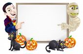 stock photo of dracula  - Halloween sign or banner with orange Halloween pumpkins and black witches cats witch - JPG