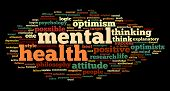 stock photo of antidepressant  - Mental health concept in word tag cloud on black - JPG