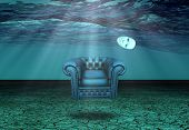 image of undersea  - White Mask and armchair floats in underwater desert - JPG